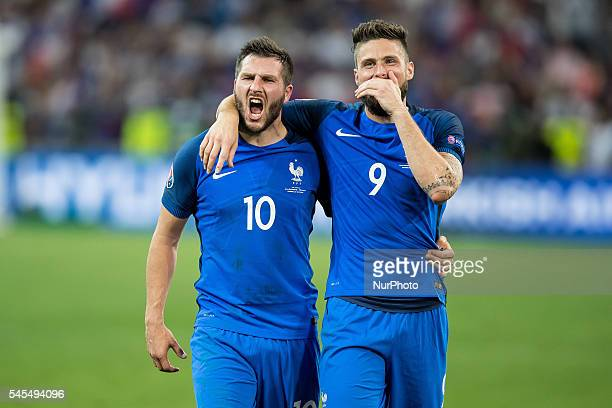 AndrePierre Gignac Olivier Giroud during the UEFA EURO semi final match between Germany and France at Stade Velodrome on July 7 2016 in Marseille...