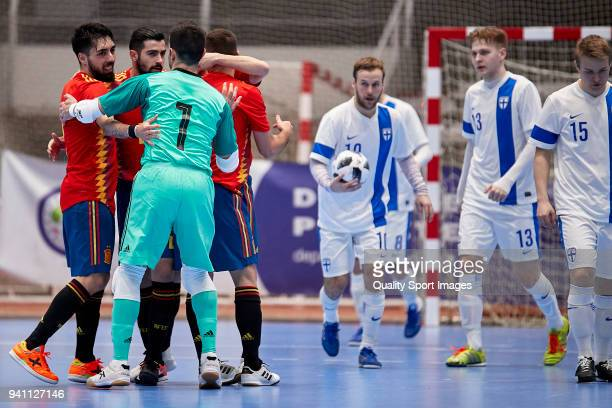 Andres Alcantara of Spain Futsal celebrates with his teammates after scoring his team's first goal during futsal international friendly match between...