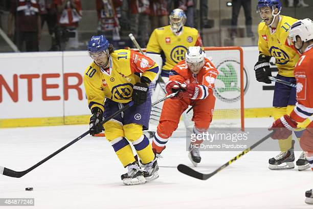 Andres Ambuehl in action during the Champions Hockey League group stage game between Dynamo Pardubice and HC Davos on August 22 2015 in Pardubice...