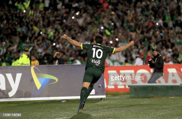 Andres Andrade of Nacional celebrates after scoring the second goal of his team during the match between Independiente Santa Fe and Atletico Nacional...