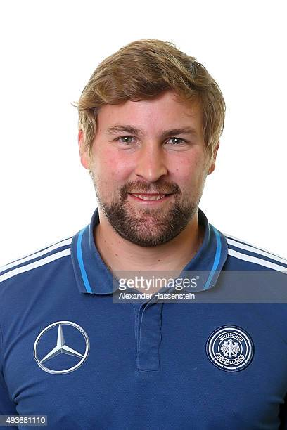 Andres Beck assistent coach of the Germany national U16 team poses during the team presentation on October 21 2015 in Grodig Austria