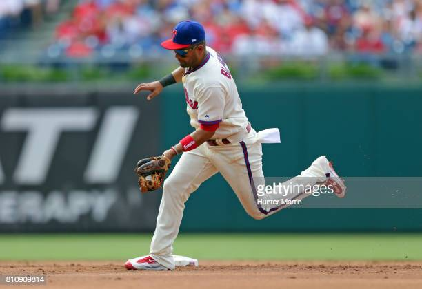 Andres Blanco fields a ground ball in the third inning during a game against the San Diego Padres at Citizens Bank Park on July 8 2017 in...