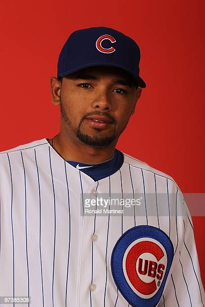 Andres Blanco of the Chicago Cubs poses for a photo during Spring Training Media Photo Day at Fitch Park on March 1 2010 in Mesa Arizona