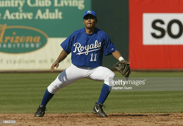 Andres Blanco of the Kansas City Royals in action against the Texas Rangers in a spring training game on March 6 2003 at Surprise Stadium in Surprise...