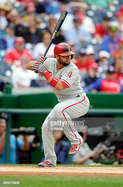 Andres Blanco of the Philadelphia Phillies bats against the Washington Nationals at Nationals Park on September 27 2015 in Washington DC