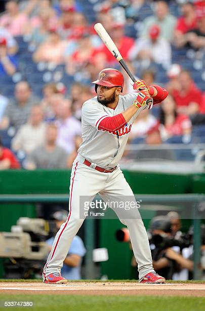 Andres Blanco of the Philadelphia Phillies bats against the Washington Nationals at Nationals Park on April 26 2016 in Washington DC