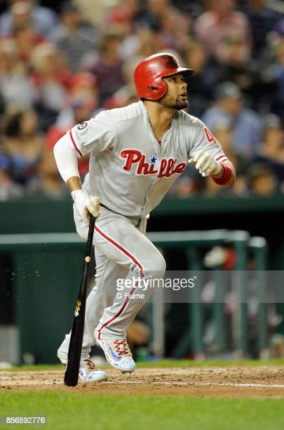 Andres Blanco of the Philadelphia Phillies bats against the Washington Nationals at Nationals Park on September 7 2017 in Washington DC