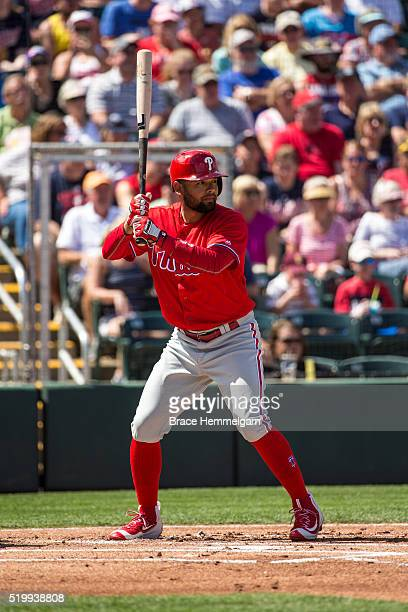 Andres Blanco of the Philadelphia Phillies bats against the Minnesota Twins during a spring training game on March 9 2016 at Hammond Stadium in Fort...