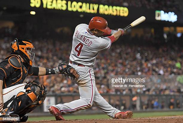 Andres Blanco of the Philadelphia Phillies bats against the San Francisco Giants in the top of the seventh inning at ATT Park on June 25 2016 in San...