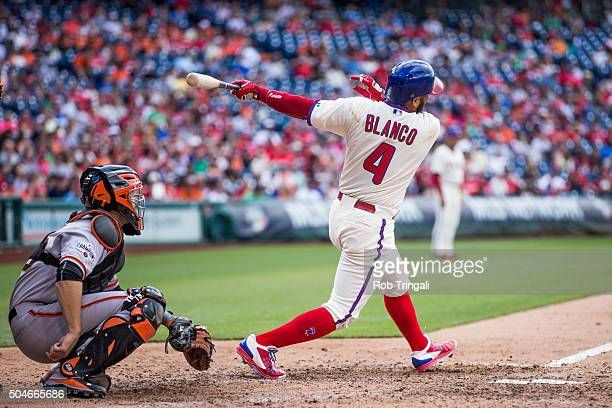 Andres Blanco of the Philadelphia Phillies bats during the game against the San Francisco Giants at Citizens Bank Park on Saturday June 6 2015 in...