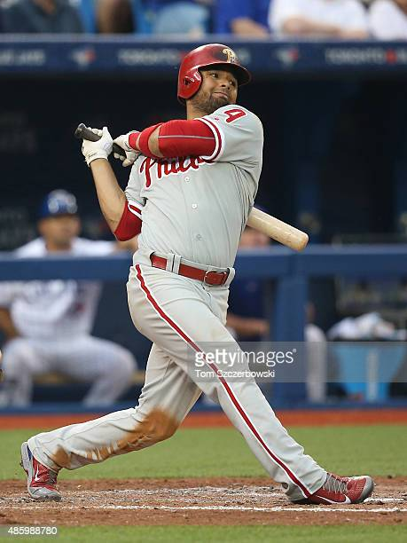 Andres Blanco of the Philadelphia Phillies bats in the fifth inning during MLB game action against the Toronto Blue Jays on July 29 2015 at Rogers...