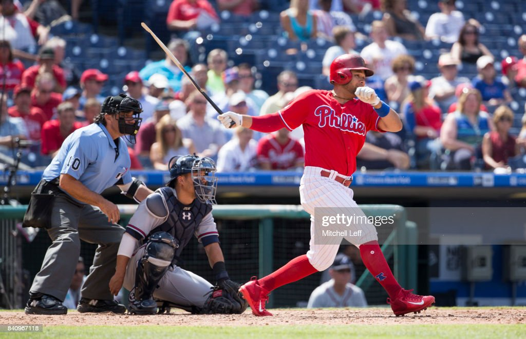 Andres Blanco #4 of the Philadelphia Phillies breaks his bat on a swing in the bottom of the eighth inning against the Atlanta Braves in game one of the doubleheader at Citizens Bank Park on August 30, 2017 in Philadelphia, Pennsylvania. The Braves defeated the Phillies 9-1.