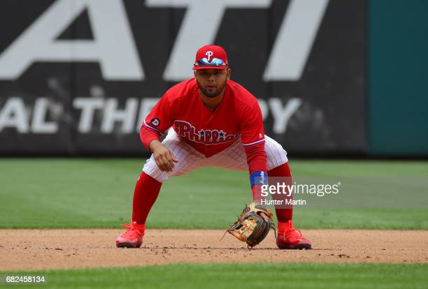 Andres Blanco of the Philadelphia Phillies during a game against the Seattle Mariners at Citizens Bank Park on May 10 2017 in Philadelphia...