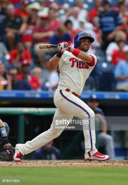 Andres Blanco of the Philadelphia Phillies during a game against the San Diego Padres at Citizens Bank Park on July 8 2017 in Philadelphia...