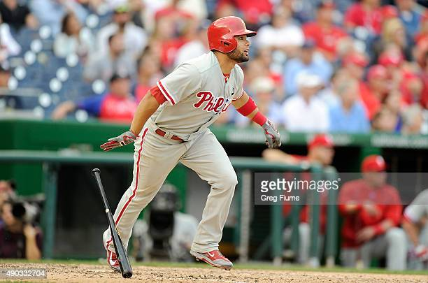 Andres Blanco of the Philadelphia Phillies hits a tworun home run in the ninth inning against the Washington Nationals at Nationals Park on September...