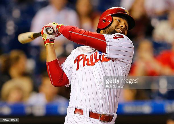 Andres Blanco of the Philadelphia Phillies in action against the Atlanta Braves during a game at Citizens Bank Park on May 20 2016 in Philadelphia...