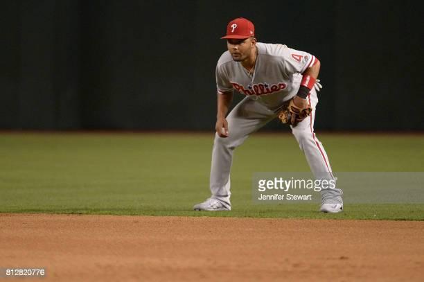 Andres Blanco of the Philadelphia Phillies in action against the Arizona Diamondbacks at Chase Field on June 23 2017 in Phoenix Arizona The...