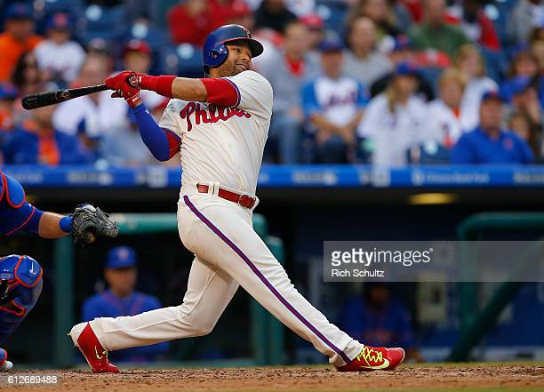Andres Blanco of the Philadelphia Phillies in action against the New York Mets during a game at Citizens Bank Park on October 2 2016 in Philadelphia...