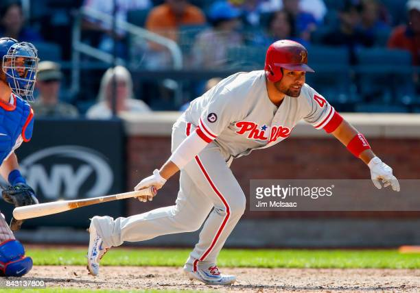 Andres Blanco of the Philadelphia Phillies in action against the New York Mets at Citi Field on September 4 2017 in the Flushing neighborhood of the...