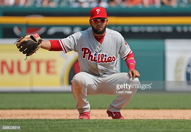 Andres Blanco of the Philadelphia Phillies looks towards the Tigers dugout during the interleague game against the Detroit Tigers on May 25 2016 at...