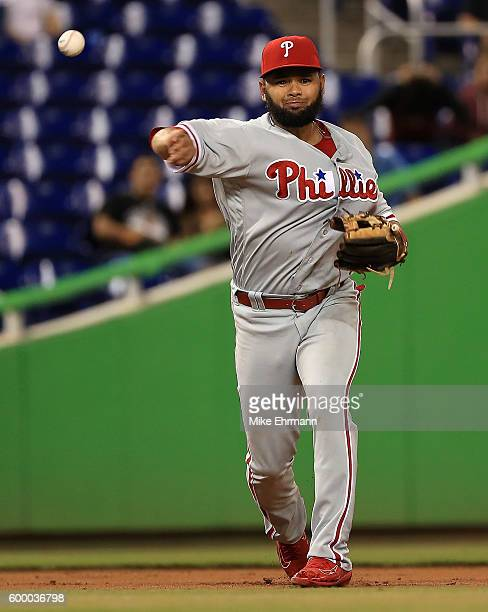 Andres Blanco of the Philadelphia Phillies makes a throw to first during a game against the Miami Marlins at Marlins Park on September 7 2016 in...