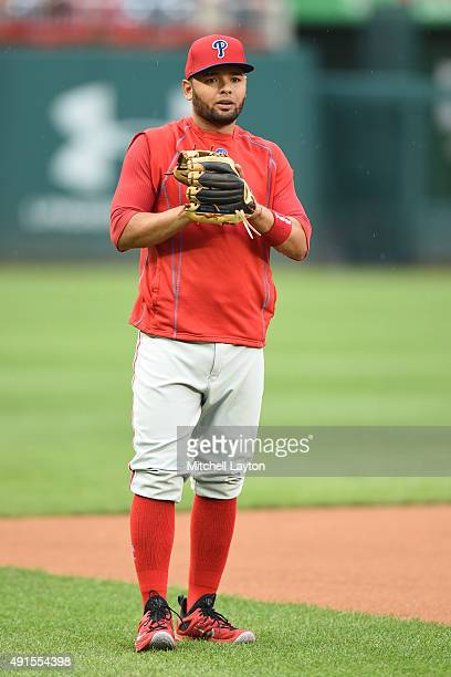 Andres Blanco of the Philadelphia Phillies plays catch before a baseball game against the Washington Nationals at Nationals Park on September 25 2015...