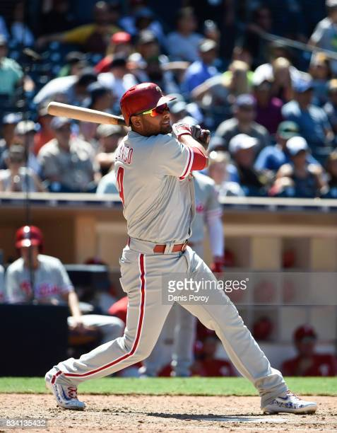 Andres Blanco of the Philadelphia Phillies plays during a baseball game against the San Diego Padres at PETCO Park on August 16 2017 in San Diego...