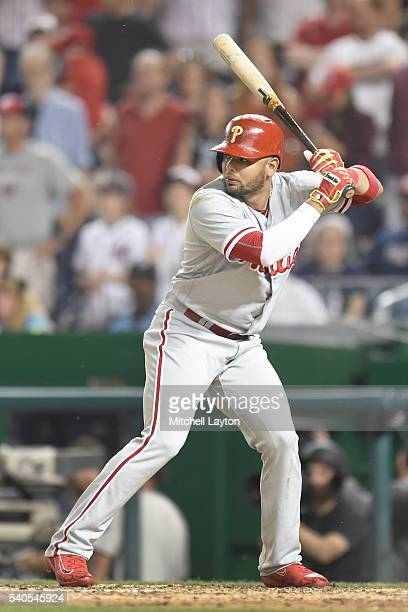 Andres Blanco of the Philadelphia Phillies prepares for a pitch during a baseball game against the Washington Nationals at Nationals Park on June 10...