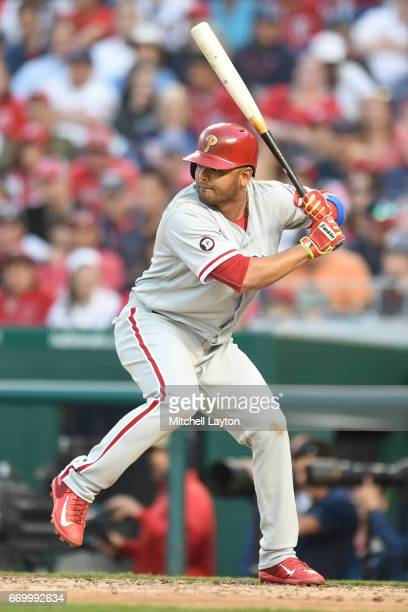 Andres Blanco of the Philadelphia Phillies prepares for a pitch during a baseball game against the Washington Nationals at Nationals Park on April 14...