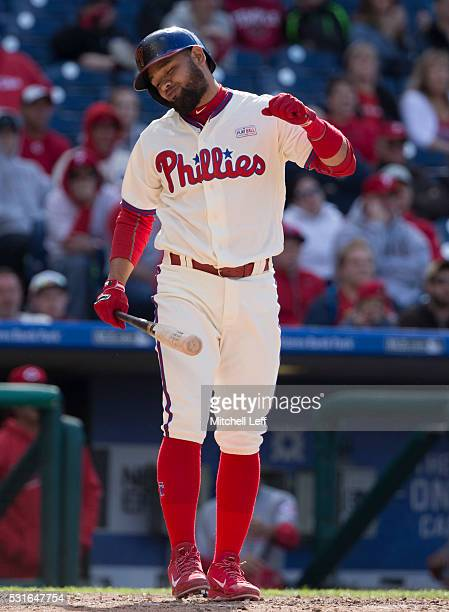 Andres Blanco of the Philadelphia Phillies reacts during his atbat in the bottom of the eighth inning against the Cincinnati Reds at Citizens Bank...