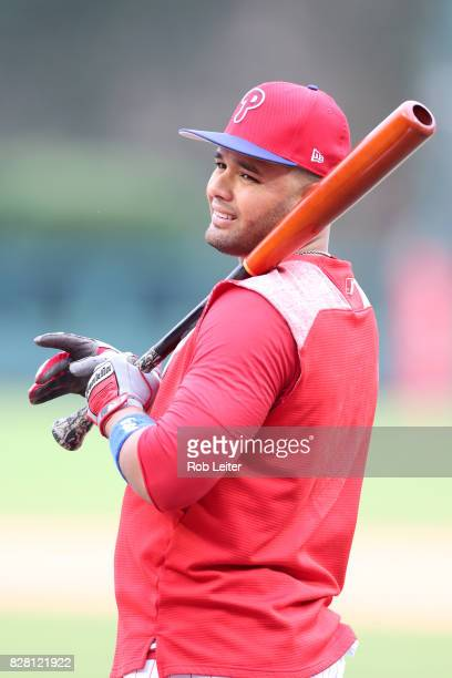 Andres Blanco of the Philadelphia Phillies takes batting practice before the game against the Atlanta Braves at Citizens Bank Park on July 28 2017 in...