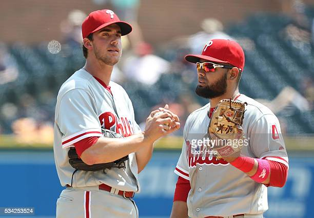 Andres Blanco of the Philadelphia Phillies talks with Aaron Nola during the fifth inning of the interleague game against the Detroit Tigers on May 25...