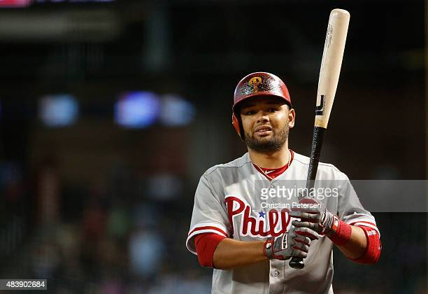 Andres Blanco of the Philadelphia Phillies warms up on deck against the Arizona Diamondbacks during the MLB game at Chase Field on August 12 2015 in...