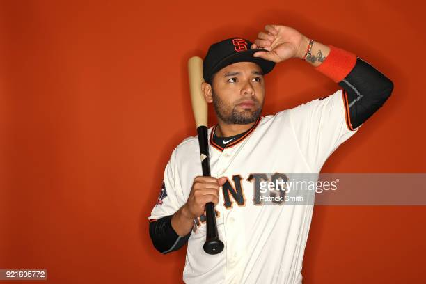 Andres Blanco of the San Francisco Giants poses on photo day during MLB Spring Training at Scottsdale Stadium on February 20 2018 in Scottsdale...