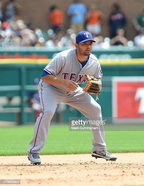Andres Blanco of the Texas Rangers fields during the game against the Detroit Tigers at Comerica Park on August 4 2011 in Detroit Michigan The...