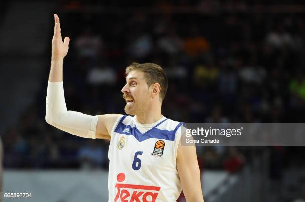 Andres 'Chapu' Nocioni #6 forward of Real Madrid during the 2016/2017 Turkish Airlines Euroleague Regular Season Round 30 game between Real Madrid...