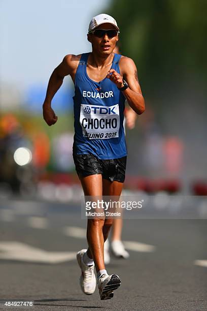 Andres Chocho of Ecuador competes in the Men's 20km Race Walk final during day two of the 15th IAAF World Athletics Championships Beijing 2015 at...