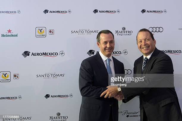 Andres Conesa chief executive officer of Grupo Aeromexico SAB left and Van Rex Gallard vice president of sales for Latin America the Caribbean and...