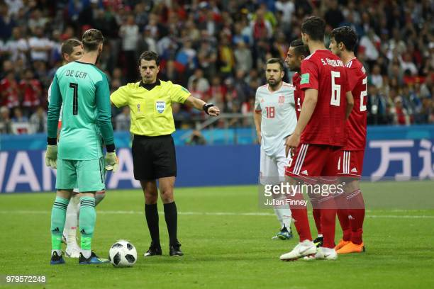 Andres Cunha disallows Iran's first goal during the 2018 FIFA World Cup Russia group B match between Iran and Spain at Kazan Arena on June 20 2018 in...