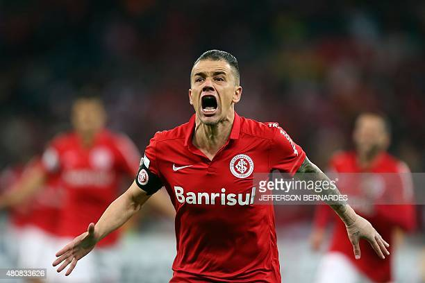 Andres D'Alessandro of Brazil's Internacional celebrates after scoring against Mexico's Tigres during the Libertadores Cup semifinal first leg...