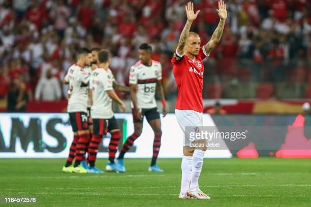 Andres D'Alessandro of Internacional reacts during the match Internacional v Flamengo as part of Copa CONMEBOL Libertadores 2019, at Beira-Rio...