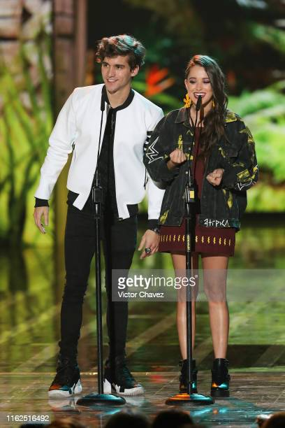 Andres de la Mora and Michelle Olvera speak on stage during the Kids Choice Awards Mexico 2019 at Auditorio Nacional on August 17 2019 in Mexico City...