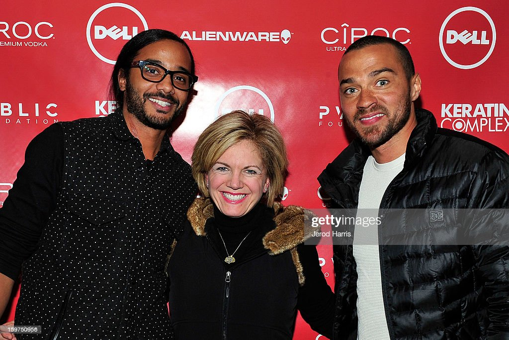 Andres Des Rochers, SMB global communications Jennifer 'JJ' Davis and Jesse Williams attend the Google + Hangout at the DELL #Inspire 100 Lounge on January 19, 2013 in Park City, Utah.