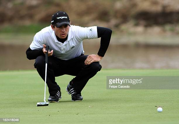Andres Echavarria of Colombia plays a shot at hole during the opening day of the 65 Arturo Calle Colombian Open at El Rincón de Cajica golf club on...