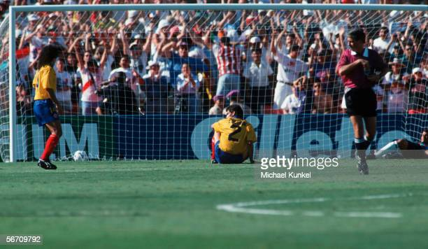 Andres Escobar of Colombia reacts after scoring an own goal during the World Cup group A match between USA and Colombia on June 22 1994 in Los...