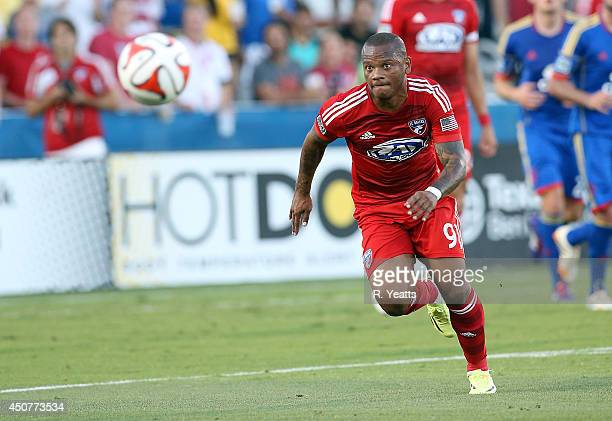Andres Escobar of FC Dallas chases down the ball against the Colorado Rapids at Toyota Stadium on June 7 2014 in Frisco Texas
