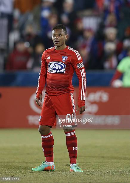 Andres Escobar of FC Dallas during the game against the Montreal Impact at Toyota Stadium on March 8 2014 in Frisco Texas