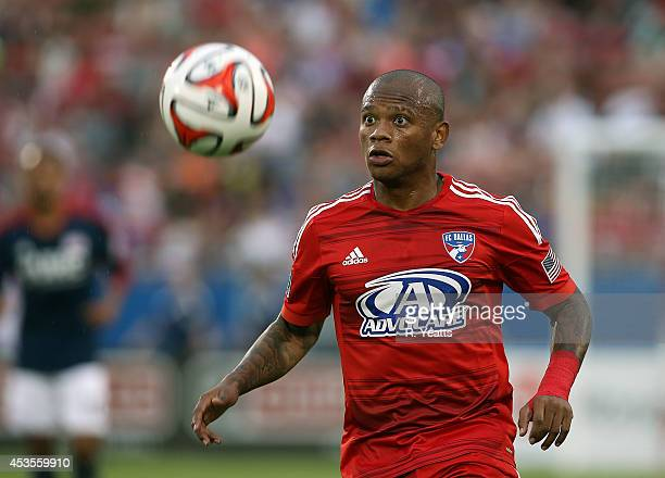 Andres Escobar of FC Dallas handles the ball against the New England Revolution at Toyota Stadium on July 19 2014 in Frisco Texas