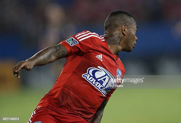 Andres Escobar of FC Dallas makes a sharp turn against the Philadelphia Union at Toyota Stadium on July 4 2014 in Frisco Texas