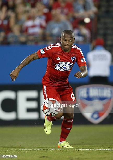 Andres Escobar of FC Dallas pushes the ball upfield against the Colorado Rapids at Toyota Stadium on June 7 2014 in Frisco Texas